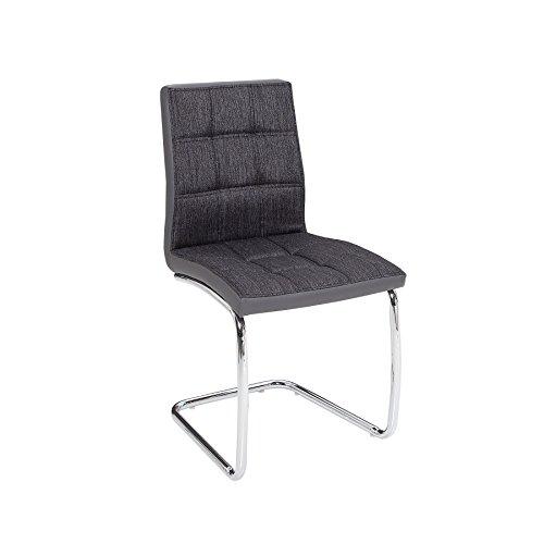 Moderner Freischwinger MODENA anthrazit grau Esszimmerstuhl Stuhl mit Designsteppung