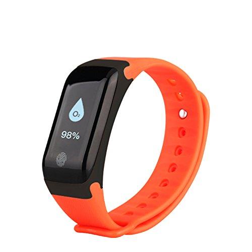 Fitness Tracker Neue Sport wasserdicht Smart Armband Armband Uhr mit Pulsmesser Schrittzähler Touchscreen für iPhone Samsung IOS Android Smartphones(Orange)