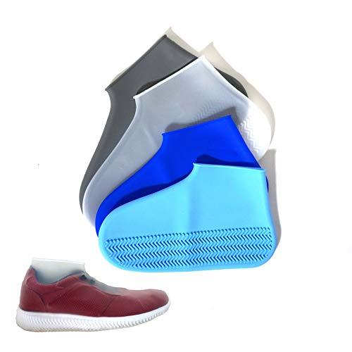 Silikon-Überschuhe mit verstärkter Antirutsch-Sohle • Schuh-Überzieher Wasserfest Waschbar Wiederverwendbar • Multifunktional einsetzbar (M, Weiss)