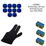 LGB Snooker, Pool Cue Stick Combo, Gloves, 6 Chalk and 10 Pieces Leather