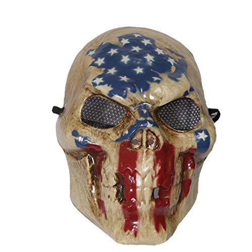 The Rubber Plantation TM 619219292177 The Purge - Vestido de esqueleto para disfraz de Halloween, talla única, diseño de calavera con bandera de Estados Unidos, unisex