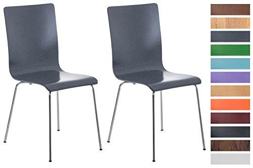 Clp set 2x sedie visitatore pepe | sedia attesa con seduta in legno e telaio in metallo cromato | sedia ergonomica e facile da pulire | sedia moderna robusta grigio