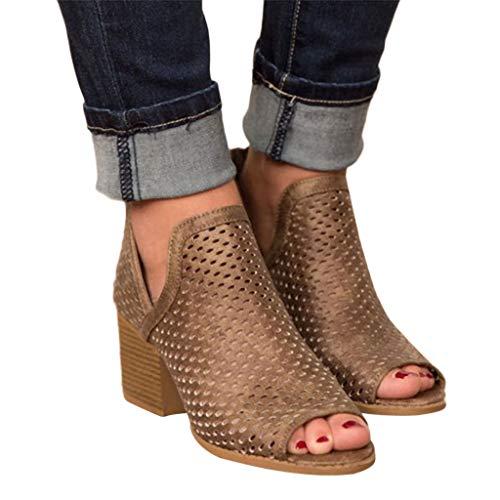2019 Sandalias Romanas Para Mujer, Botines De Tacón Alto Ancho De Vestir Hollow Zapato Solo Peep-Toe...