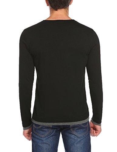 Coofandy Herren Langarm Shirt Henleyshirt Elegant Freizeit Regular Fit für Business  Langarmshirt T-Shirt Rundhals ...