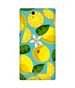 Lemon Leaves Printed Back Cover Case For Sony Xperia C3