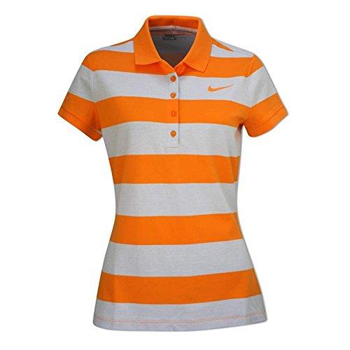 Nike Precision Stripe Pique Damen T-Shirt Weiß/Orange