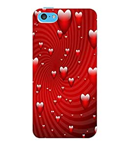 ColourCraft Love Hearts Design Back Case Cover for APPLE IPHONE 5C