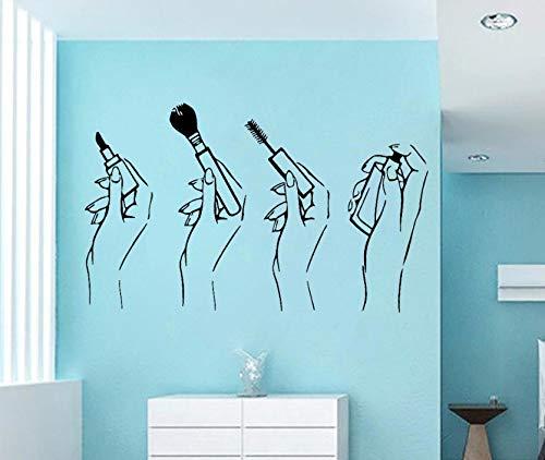 (Dalxsh Schönheitssalon Wandtattoo Frauen Hände Make-Up Vinyl Aufkleber Mädchen Room Decor Mascara Lippenstift Kunst Aufkleber Schlafzimmer Dekoration 33X60 Cm)