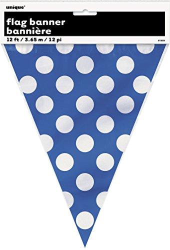 Unique Party 10024 Bandierine a Pois, Blu Reale