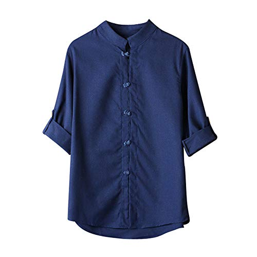 Damen T Shirt, CixNy Bluse Damen Kurzarm Sommer Klassischer Chinesischer Stil Kung Fu Hemd Tang Suit 3/4 Sleeve Leinen Oberteil Tops Weiß M-XXXL (Marine, Large)