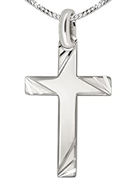 CLEVER SCHMUCK-SET Silberner Anhänger großes Kreuz 35 mm hochglänzend poliert mit Enden matt 3-fach aufgefächert...