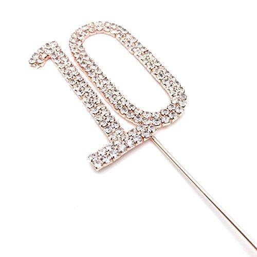 r Sparkles, 6cm, Kuchen-Dekoration, Silber mit Strass-Diamanten, Rotgold-für Erwachsene, Geburtstagsgeschenk für Kinder Kinder Geburtstag Party, metall, silber, No 10 ()