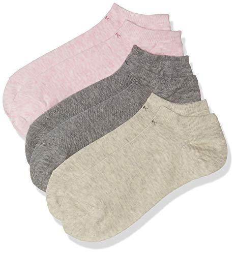 Calvin Klein socks Damen Sneakersöckchen 3er Pack ECR774, FADED-PINK/PALE-GREY/GREY, 37/41