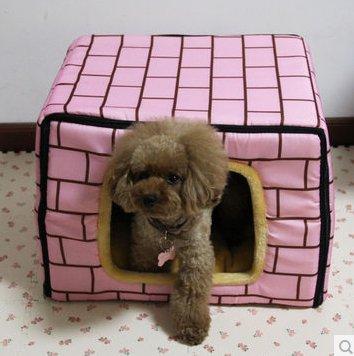 Creative-Ziegel Druck Klappbett Miniatur Haustiere Kleiner Hund / Katze-Haus 40 x 30 x 30 cm - pink
