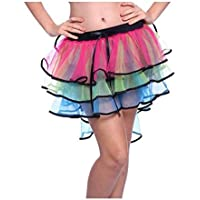 Lorembelle 1980s 80s Layered Tiered Neon Fluo UV arcobaleno Burlesque trambusto addio al nubilato o Halloween rara Rave party Ruffled Frill Tulle Tutu Gonne Fancy Dress