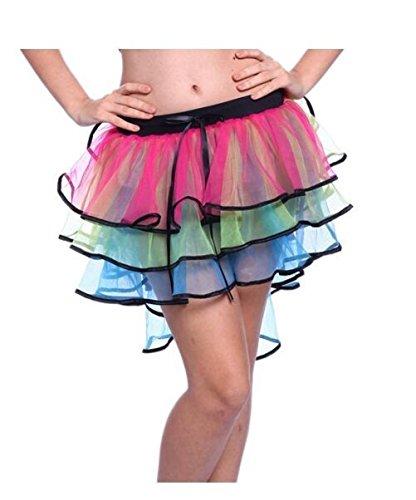 Multi-coloured, Tiered UV 80s Party Skirt. Lovely skirt in standard size