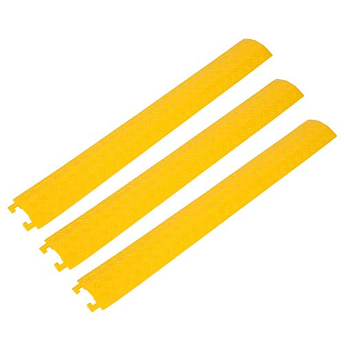 Boden Cord Cover, Heavy Duty Gummi-Kabelschutz - 3 Stück Heavy Duty Single Channel Gummi Speed Bump Kabelschutz Cover 95 x 13 x 1,6 cm(Yellow) - Boden Cord Cover