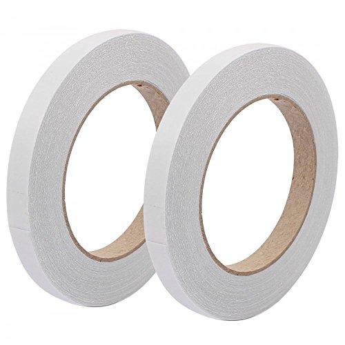 Doppelseitig Klebeband–Pack von 2Größen (9mm & 12mm–33m Pro Rolle) selbstklebend Tissue Tape/doppelseitiges Klebeband (Stoff-haar-rollen)