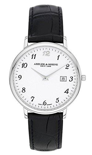 Abeler & Söhne Reloj de hombre fabricado en Alemania con cinta de piel, cristal de zafiro y fecha as1311
