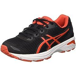 Asics Gt-1000 5 Gs, Zapatillas de Deporte Niñas, Negro (Black/Vermilion/Carbon), 36 EU