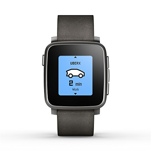 Pebble Time Steel Smart Watch für Android und iOS, schwarz