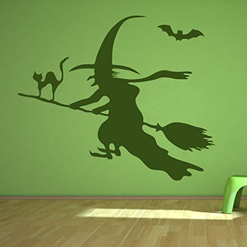 Hexe, Katze, Fledermaus Wandaufkleber Halloween Wandtattoo Scary Kinder Wohnkultur verfügbar in 5 Größen und 25 Farben X-Groß Blatt - Blätter Halloween Scary Farbe