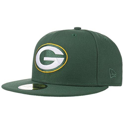 Brim Fitted Cap (New Era 59Fifty NFL Classic Packers Cap Baseballcap Basecap Fitted NFL-Cap Flat Brim Green Bay Cap Basecap (8 0/0 (63,5 cm) - dunkelgrün))
