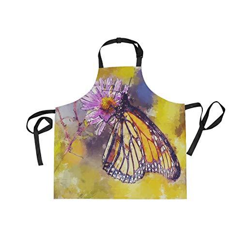 MALPLENA Malplee verstellbare Schürze mit Schmetterling Blumen Aquarell Malerei mit Tasche & extra Langen Bändern Herren und Damen (Kolonial Dame Kind Kostüme)