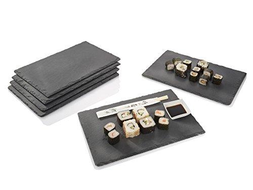 Moosgummi-füße (Sänger Schiefer Platten Set 6 teilig 20x30cm Tisch Untersetzer Servierplatten | 4 Gummifüße zum Schutz Ihrer Oberflächen | Robustes Design mit edler Optik)