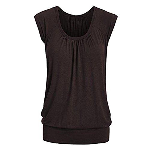 VEMOW Elegante Frauen Damen Sommer Casual Rundhals Solide Lose Beiläufige Tägliche Kurzarm T-Shirt Top Bluse Pulli Tees(Braun, EU-38/CN-S) (T-shirts Braune)