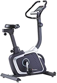PowerMax Fitness Unisex Adult BU-700 Magnetic Upright Bike For Home Use - Silver/Grey, Compact