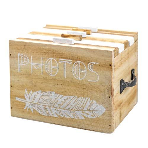 Fotobox Holzkiste, Fotomappe für 120 Fotos, Fotoalbum Holzbox, Memory Box, Erinnerungs-Kiste
