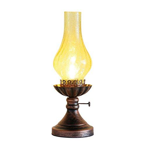 HONGOU Tischlampe Vintage Petroleumlampe Glasschirm Industrie E27 Fassung Antik Design Schreibtischlampe Wohnzimmerlampe Schlafzimmerlampe Schreibtisch Leselicht Rost Rot - Glasschirm Tischlampe