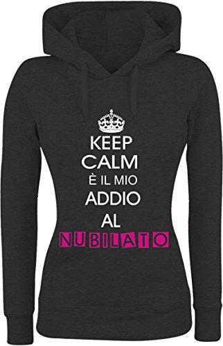 Felpa DONNA Con Cappuccio BASIC top qualità top vestibilità - ADDIO AL NUBILATO divertente humor MADE IN ITALY Nero