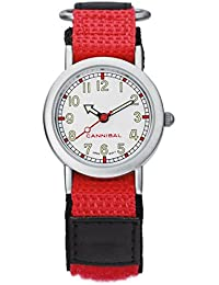 Cannibal Unisex Quartz Watch with White Dial Analogue Display and Red Nylon Strap CK002-06