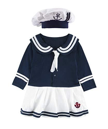 Mombebe Baby Mädchen Matrose Body Kleid Langarm mit Hut (Blau, 0-6 ()