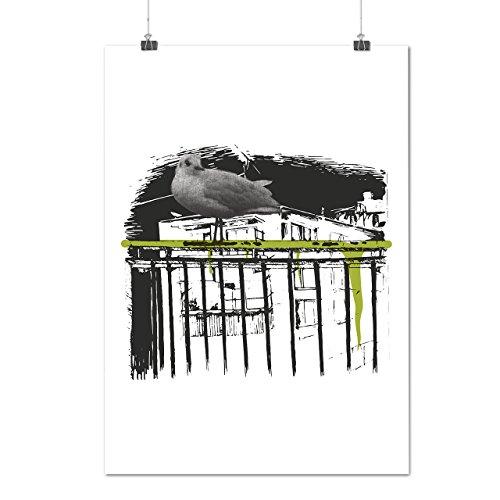 pigeon-bird-building-city-urbanistic-matte-glossy-poster-a3-42cm-x-30cm-wellcoda