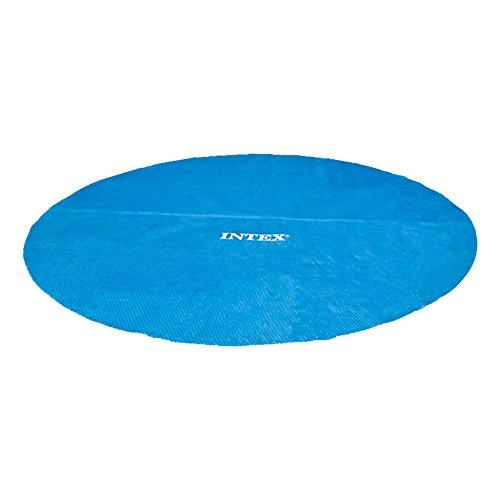 Cobertor solar Intex para piscinas circulares de 457 cm. Fabricado con polietileno, está formado de burbujas con aire sellado de 160 micras. Reduce hasta un 95% la evaporación del agua y es ideal para conservar la temperatura.