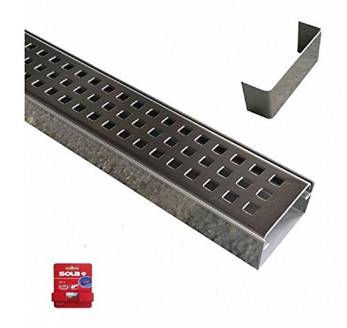 Set 9 x Entwässerungsrinne Edelstahl 1 Meter Superflach V2A stream 8 Rinnen, 1 Rinne mit Ablauf, 10 Verbinder, 1 Schnurwasserwaage