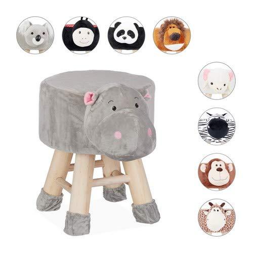 Relaxdays Tierhocker Nilpferd, Dekohocker für Kinder, Abnehmbarer Bezug, Holzbeine, gepolstert, Kinderhocker Tiere, grau