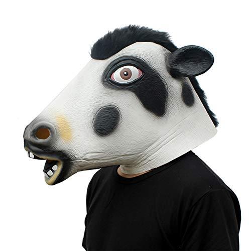 (YeahiBaby Tierkopf Maske Halloween Latex Maske Tiermaske Kuh Cosplay Maske Streich Prop Halloween Kostüm)