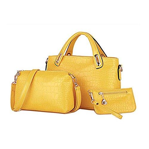 wlgreatsp 3 Stück PU Leder Handtasche Schultertasche Tote Handtasche Umhängetasche Gelb