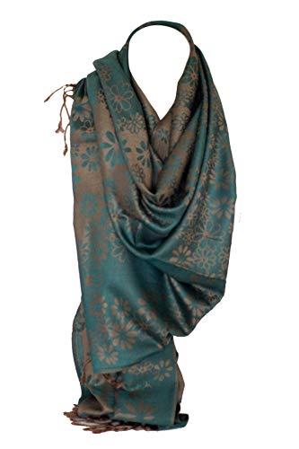 Bullahshah Daisy Blumendruck zwei doppelseitige Reversible Soft Pashmina fühlen Wrap Schal, Kopftuch, Hijab Stola (Teal Blue Beige) -