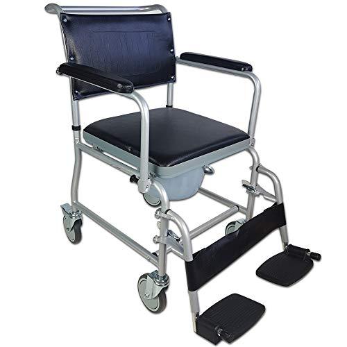 mobiclinic, ancla, sedia con wc o water per disabili, anziani, pieghevole, braccioli, seduta ergonomica, piedini antiscivolo, colore grigio