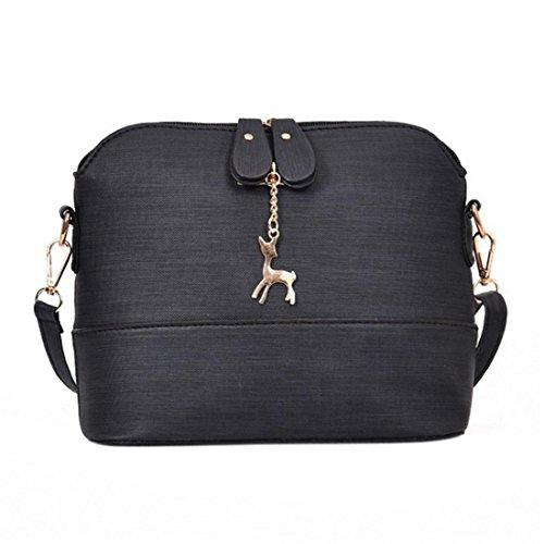 uely Mädchen Messenger Crossbody Vintage Tasche Damen Kleines Shell Leder Handtasche (Schwarz) ()