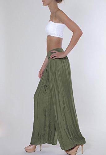 CASPAR - KHS010 - Pantalon bouffant en soie pour femme avec large ceinture élastique - plusieurs coloris vert olive