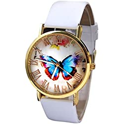 Bocideal New Arrivial Women Girl Butterfly Quartz Leather Band Wrist Watch White