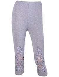 Vertvie Femme 3/4 Longueur Leggings Modal avec Bordure Dentelle Pantalon Court Doux Extensible Taille Unique