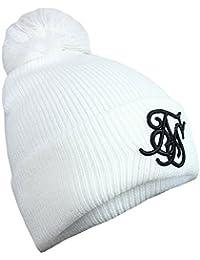 SikSilk Tonal Bobble Hat, Chapka Homme, Black (White), Taille Unique