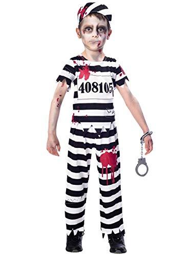 Fancy Me Jungen schwarz weiß Blutige Zombie Sträfling Gefangener unheimlich Halloween Kostüm 7-12 Jahre - 9-10 Years